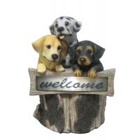 Hand Cast 3 Puppies Welcome Garden Solar Light for Backyard OEM Acceptable