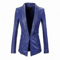 China Women's PU Leather Jacket with With Metal Chain Label on sale