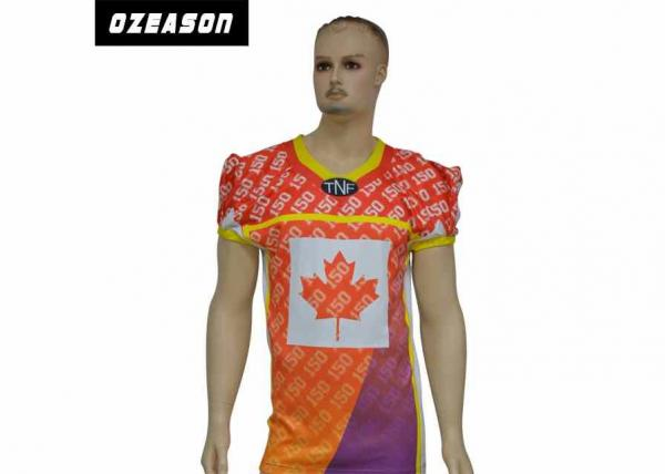 Quality Dry Fit Sublimation Canada Maple Leaf American Sublimated Football Jerseys Wholesale Football Shirts for sale