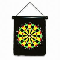 China Safety Hanging Magnetic Dart Board, Made of Rubber/Iron Sheet/Fabric wholesale