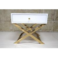 White Painted Gold Hotel Bedside Tables With Polished Metal Base , 60% Sheen