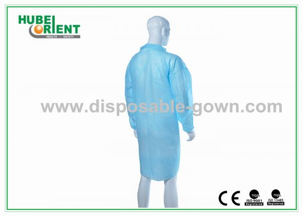 Quality PP Nonwoven Blue / Green Lab Coats Disposable Smocks With Zip for sale