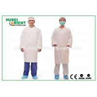 China Tyvek disposable white lab coats , medical protective clothing Korean Collar and Zip wholesale