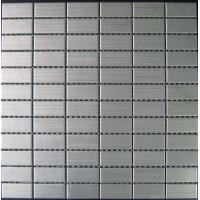 Stainless Brushed Strip Metal Mosaic Tiles For Kitchen Floor 23x23mm