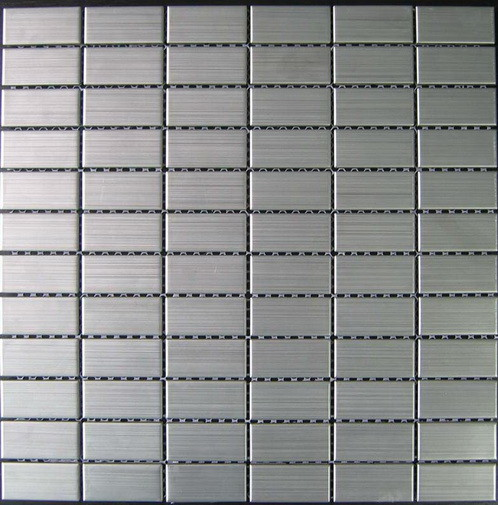 Quality Stainless Brushed Strip Metal Mosaic Tiles For Kitchen Floor 23x23mm for sale