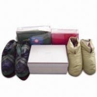 China Indoor Down Shoes, Made of 100% Cotton, Available with Gray Duck Down Filling wholesale