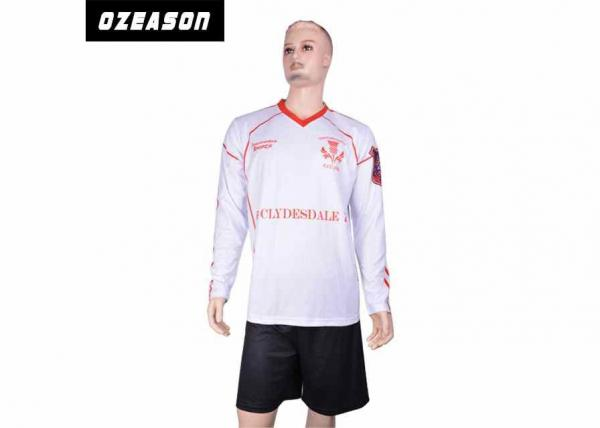 Quality 100% Polyester Sublimated Football Jerseys / Long Sleeve Plain Goalie Soccer Jersey for sale
