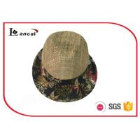 Buy cheap Fashion natural Wide Brimmed Straw Hat , mens floral aop trim seagrass straw hat from wholesalers