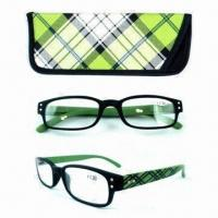 China Reading glasses with case, made of PC wholesale