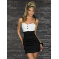 China Wholesale New Arrival Fashion Black Dress with Button Decorate as sexy clubwear for party on sale