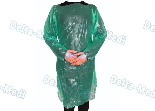 Quality Green CPE Disposable Plastic Gowns , Anti Liquid Long Sleeve Hospital Gowns for sale