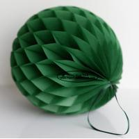 China Dark Green Tissue Paper Honeycomb Balls Pom Poms With Satin Ribbon Loop For Hanging wholesale