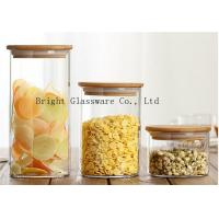 China blown high borosilicate glass storage jar with wooden lid sale wholesale