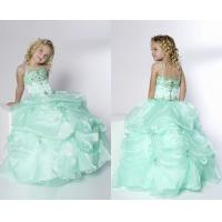 China Ball Gown Spaghetti Pick-Ups Floor Length Little Girl Pageant Dresses With Beads wholesale