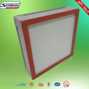 China Clean Room Pleated Panel Fiberglass Media Hepa Air Filters Aluminum Frame on sale