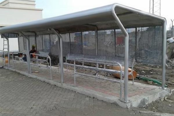 Quality Safety Artistic Stainless Steel Bus Shelter With Seats / Garbage Bins / Line Signs for sale