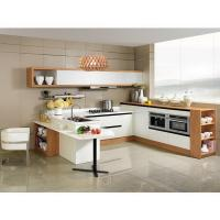 China Modern White Stainless Steel Kitchen Cupboards Laminate Covering With Aluminium Handle wholesale