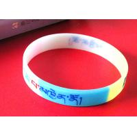 China Exercise / Party Custom Silicone Rubber Wristbands Multi Colors Segmented wholesale