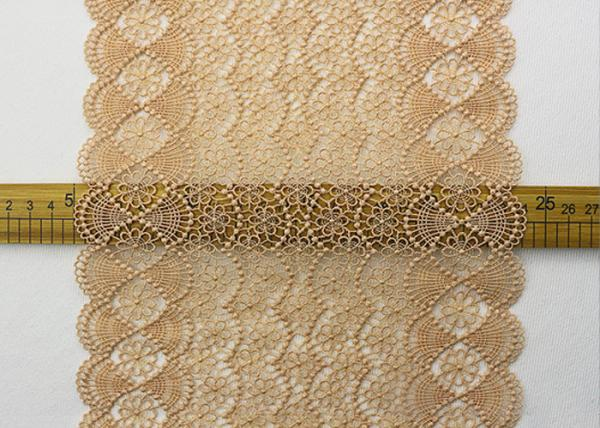 Quality 19 CM Champagne Wide Heavy Guipure Lace Trim With Scallop Edging / African Cord Lace for sale