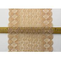 China 19 CM Champagne Wide Heavy Guipure Lace Trim With Scallop Edging / African Cord Lace wholesale