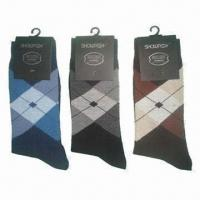 China Men's dress socks, made of 95% polyester and 5% spandex wholesale