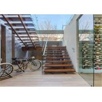 China Narrow Space Used Straight Staircase System with solid wooden staircase steps wholesale