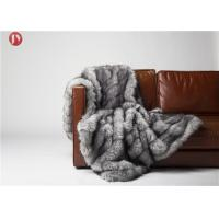 China Gray Cutting groove Faux Fur Weighted Blanket , Faux Coyote Fur Blanket 80''X60'' Optional Color on sale