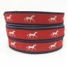 China 25mm red polyester metallic jump ride horse pattern silver jacquard ribbon Australia market horse ribbon/blinding wholesale