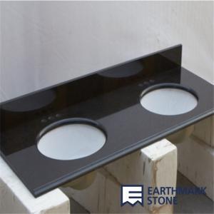 China Absolute Black Granite Bathroom Vanity Top with Double Sinks wholesale