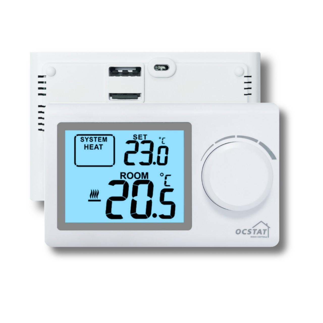 China Battery - Operated  Large LCD Electronic Thermostat For Floor Heating White Color wholesale