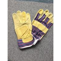 "China 10.5"" Leather Safety Working Gloves Full Palm Stripe Cotton Back And Pasted Cuff wholesale"