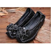 China Women's Flat retro flowers Comfortable Trendy Shoes ladies black loafers on sale