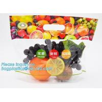 China slider zip lock packaging fruit bag for cheery and grape, Vegetable refrigerate used resealable ziplock packaging bag on sale