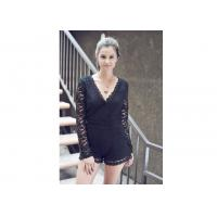 China Sweet Night Long Sleeve Lace Sexy Women Jumpsuits With Surplice Top wholesale