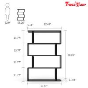 China Black  Modern Office Furniture Corner 4 Shelf Bookshelf For Living Room / Bedroom wholesale