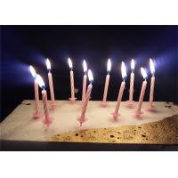 China Candy Stripes Spiral Birthday Candles Pink Paraffin Wax With 20 pcs Holders wholesale