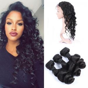China 360 Lace Closure Peruvian Human Hair Weave With Bundles Peruvian Loose Wave Virgin Hair Natural Color on sale