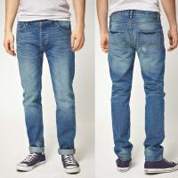 China Straight leg indigo denim jean washed jeans pants for men   on sale