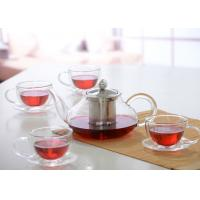China Elegant Hand Made Glass Tea Pot Set With Stainless Steel Infuser And 5pcs Glass Tea Cups wholesale