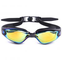 China Adults Anti Fog Swimming Goggles Mirror Lens Gold Color , Aligned Nose Bridge wholesale