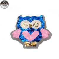 China Blue / Pink Owl Reverse Sequin Patch Eco Friendly For Garment / Shoes Decoration wholesale