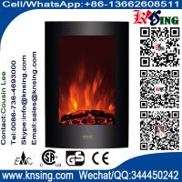 "China 23""Black Curved Tempered Glass Standing Wall Mounted Electric Fireplace Heater(Log/Pebbles Fuel) flame EF493/EF494 wholesale"