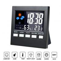China Indoor 12/24 Hour Time Display Digital LCD Weather Clock With Backlight wholesale