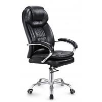 China Black Leather Executive Office Chair High Back PU / PVC Cover Eco Friendly on sale