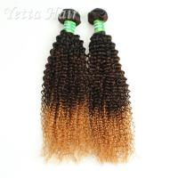 China Colored Peruvian Virgin Hair Body Wave / Three Tone  Kinky Curly Hair Extensions wholesale