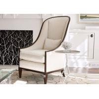 China European Style Wooden Club Chair , Cream Fabric Upholstered Accent Chair wholesale