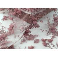 China Embroidered Mesh Lace Fabric Wine Red Or Pale Yellow Color Accept Custom Designs on sale