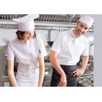 China Single Breasted Custom Work Shirts , White Short Sleeve Embroidered Chef Coats wholesale