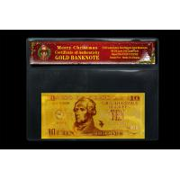 China USA Gold Banknote 10Dollars 24k Pure Gold Selling Coming Chrismas Day wholesale