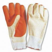 China Rubber Coated Cotton Glove, Measuring 9.5, 10 and 10.5 inches wholesale